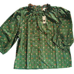 ANTHROPOLOGIE Women's Blouse Cotton Shirt Green XL